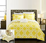 Difference Between King and Cal King Chic Home 4 Piece Juniper Reversible two-tone Ikat diamond geometric pattern print technique Queen Duvet Cover Set Yellow
