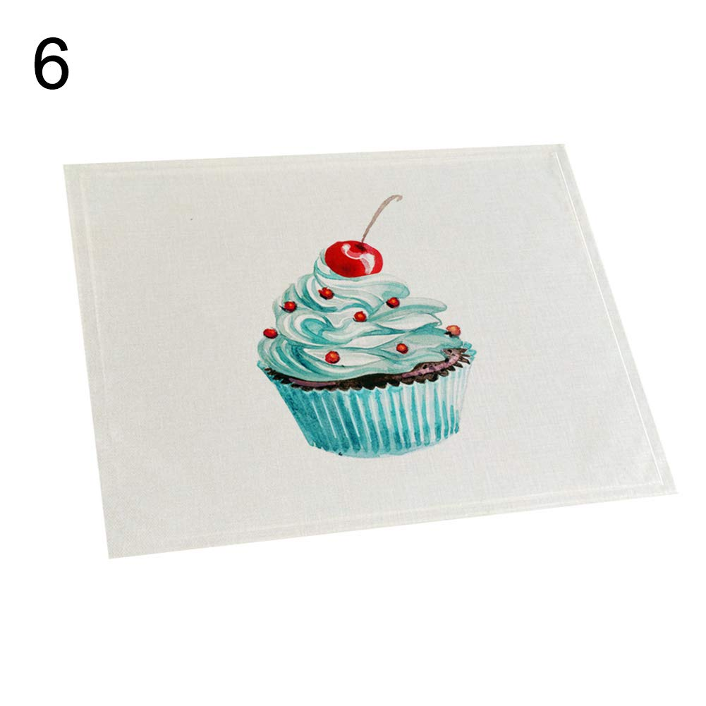 memorytime Cake Pattern Non-Slip Heat Insulation Linen Placemat Kitchen Dining Table Decor Kitchen Dining Supplies - 6#