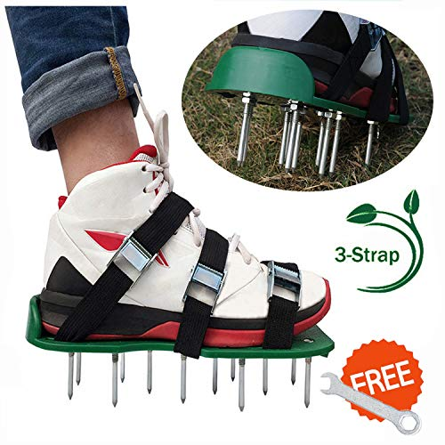 (WESION Lawn Aerator Shoes Lawn Aerator Tool, Lawn Aerator Spike Shoes with Adjustable Straps and Heavy Duty Metal Buckles, Universal Lawn Aerating Shoes for Effectively)