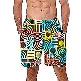 NUWFOR Men Casual 3D Graffiti Printed Beach Work Casual Men Short Trouser Shorts Pants(Multi Color,US M Waist:29.9-33.9'')