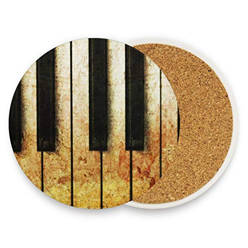 Old Piano Vintage Coasters, Protect Your Furniture From Stains,Coffee, Wood Coasters Funny Housewarming Gift,Round Cup Mat Pad For Home, Kitchen Or Bar Set Of 2