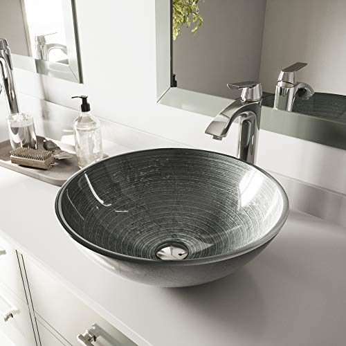 VIGO VG07053 Glass Above counter Round Bathroom Sink, 16.5 x 16.5 x 5.5 inches, Silver / Simply Silver