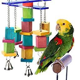 Wood bird toys Handcraft Non-toxic eco-friendly Colorful Bird Toy small and medium parrots Toys with Bells can be bite