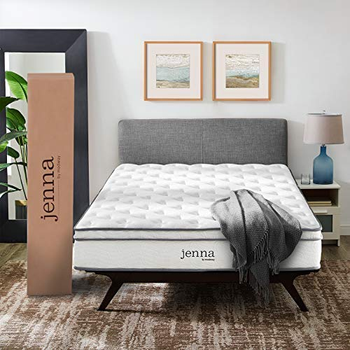 Modway AMZ-5770-WHI Jenna 10 Queen Innerspring Mattress – Top Quality Quilted Pillow Top – Individually Encased Pocket Coils – 10-Year Warranty