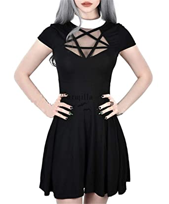 eb9f0890faa Enfei Halloween Womens Pentagram Mesh Dress Gothic Vintage Romantic Casual  Short Sleeve Dress for Women