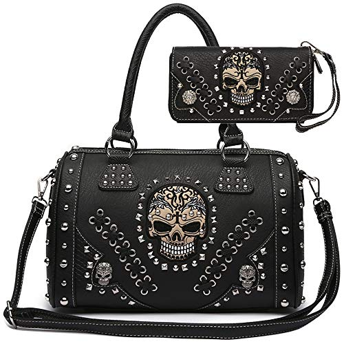 Sugar Skull Day of the Dead Punk Art Purse Removable Strap Women Satchel Handbag Shoulder Bag Wallet Set (Black Set) -