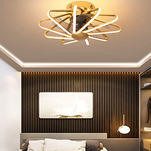 Ceiling Fan with Lights, Enclosed Ceiling Fan Light, Low Profile, Remote Control LED 3 Color Light, 3 Wind Speed, Flush Ceiling Fan, Used in Bedroom Lights, Living Room Lights,Gold