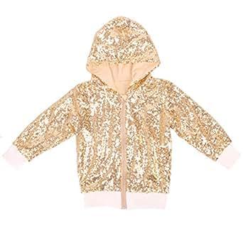 Cilucu Kids Jackets Girls Boys Sequin Zipper Coat Jacket for Toddler Birthday Christmas Clothes Hoodie DK Gold 3-4T