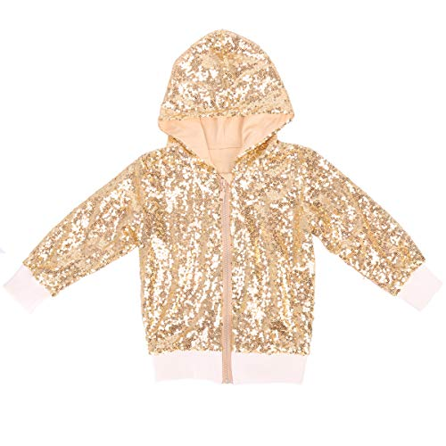 (Cilucu Kids Jackets Girls Boys Sequin Zipper Coat Jacket for Toddler Birthday Christmas Clothes Hoodie DK Gold 3-4T)
