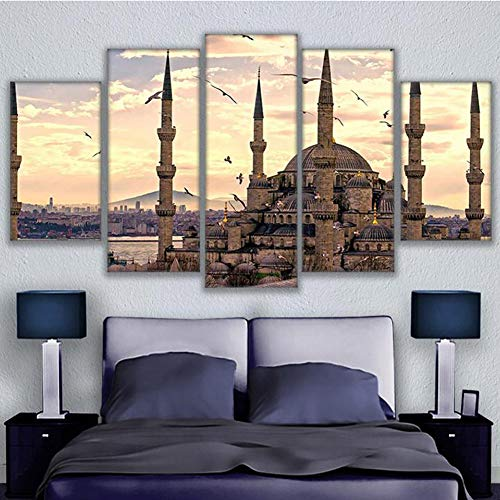 XLST HD Print 5 Panel Sultan Ahmed Mosque Modular Pictures Home Decor - Ahmed Mosque Sultan