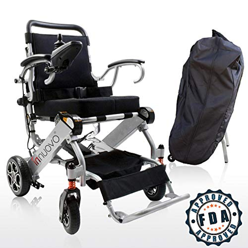 - 2019 Upgraded Folding Electric Powered Wheelchair with Travel Bag, Supports up to 265lb, Weighs 50lb, Up to 12 Mile-Range with 2 Batteries, FDA Approved for Air Travel, N5513A
