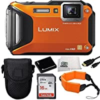 Panasonic Lumix DMC-TS5 16.1 MP Tough Digital Camera with 9.3x Intelligent Zoom (Orange) + Sandisk 16GB Ultra SDHC Memory Card + Extended Life Replacement Battery + Floating Wrist Strap + Micro HDMI Cable + Carrying Case + Microfiber Cleaning Cloth Basic Facts Review Image