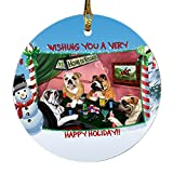 Home of Bulldogs 4 Dogs Playing Poker Photo Round Christmas Ornament