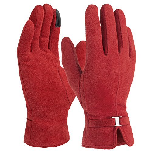 OZERO Warm Gloves for Lady and Girl Full Fingers with Fleece Deerskin leather for Good Grip - Thermal and Windproof in Winter - Red(Extra Large) (Red Leather Grip)
