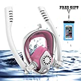 Full Face Snorkel Mask, HJKB K2 Free Breathing Snorkeling Mask with Double Tubes and 180° Panoramic Viewing, Zero Fog and Anti Leak Guarantee with Camera Mount for Adult (Pink, Medium Adult)
