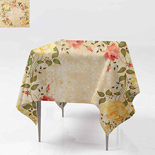 - AndyTours Tablecloth for Kids/Childrens,Vintage,Oval Shape Floral Crown with Leaves and Roses Over Damask Motif Shabby Boho,for Events Party Restaurant Dining Table Cover,70x70 Inch Yellow Green Pink