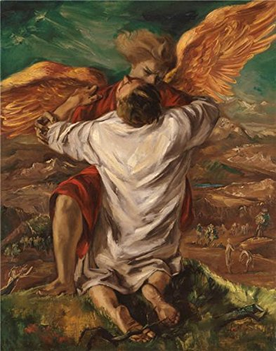 'Frederick Taubes,Jacob Wrestling With The Angel,1944' Oil Painting, 10x13 Inch / 25x32 Cm ,printed On Polyster Canvas ,this Best Price Art Decorative Prints On Canvas Is Perfectly Suitalbe For Bathroom Decor And Home Decor And Gifts