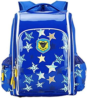 European royal style high-end backpack Burden Reduction schoolbag shuoulder bag designed for Primary and Secondary children,boys,royalblue star pattern