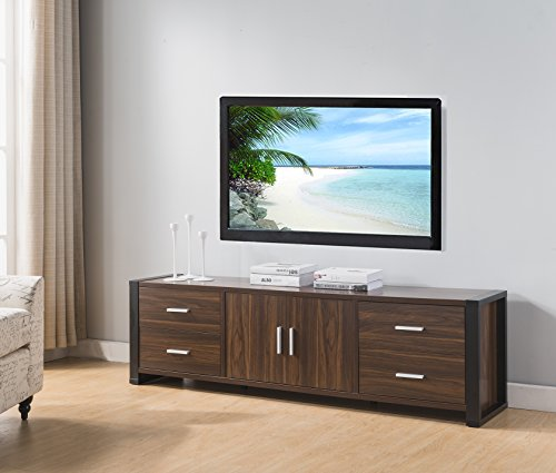 Smart home 161483 Entertainment Console TV Stand (60 Inch, Dark Walnut & Black)