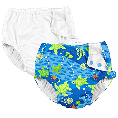 Reusable Baby Swim Diapers White and Green Sea Turtle 18 Months ()