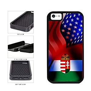 Hungary and USA Mixed Flag 2-Piece Dual Layer Phone Case Back Cover Apple iPhone 5 5s