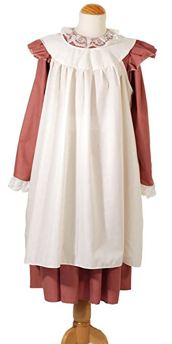 Victorian Kids Costumes & Shoes- Girls, Boys, Baby, Toddler World Book Day-The Railway children Edwardian Girl Dress (Dusky Pink) With Over Apron - All Ages $65.00 AT vintagedancer.com