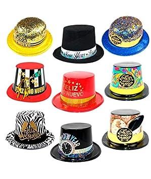 Cotillón Nochevieja Pack Sombreros Año (10 uds) Plástico  Amazon.es   Juguetes y juegos c727fa46c59