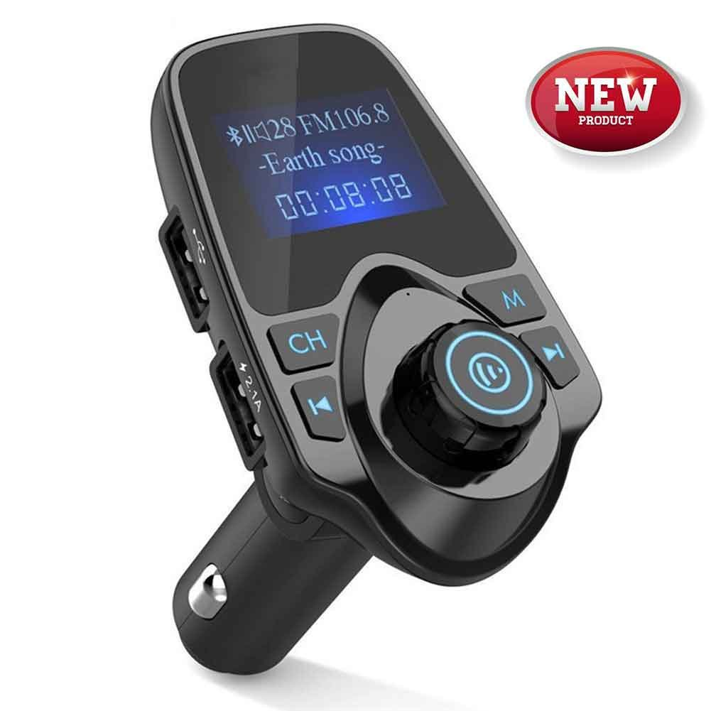 [Upgraded Version] FM Transmitter, T11 Bluetooth FM Transmitter, Hands-free Calling, USB Car Charger, Car MP3 Player Kit with Multi Music Play Modes, 1.44 Inch Screen Display