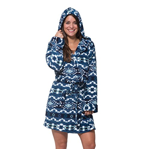 WallFlower Womens Plush Warm and Cozy Printed Hooded Robe Blue (Flannel Robe)