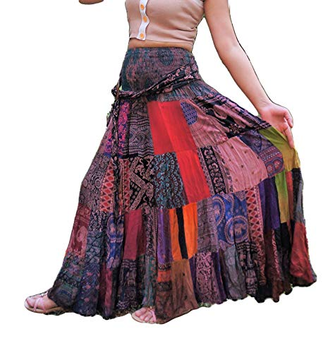 Patchwork Boho Skirt Long Unique Multi Colored Tiered Flared 100% Silky Rayon