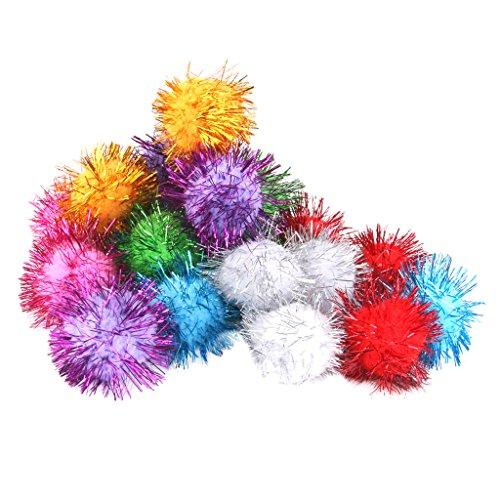 delicate Glitzy Sprayed Pompoms Balls Cat Toys 3.5cm
