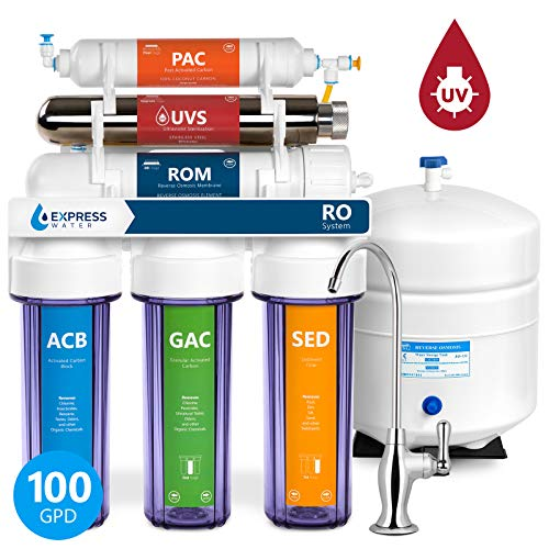(6 Stage UV Ultra-Violet Sterilizer Reverse Osmosis Home Drinking Water Filtration System - Clear Housing -100gpd- DELUXE faucet - ROUV10DC - EXPRESS WATER)
