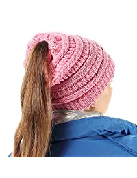 Women Knit Beanie Hat Soft Stretch Messy High Ponytail Winter Skull Cap, Pink