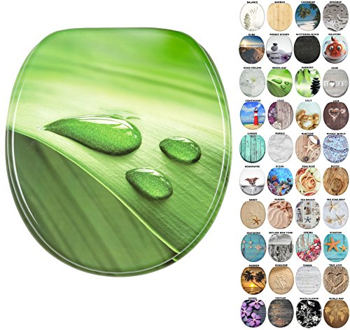 Sanilo Round Toilet Seat, Wide Choice of Slow Close Toilet Seats, Molded Wood, Strong Hinges (Green ()