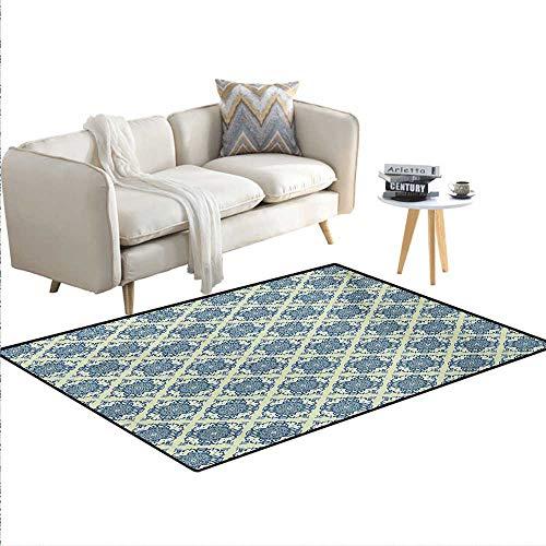 - Carpet,Curvy Repeating Floral Motifs in Squares Mandala Style Pattern,Print Area Rug,Reseda Green Baby Blue Blue,40