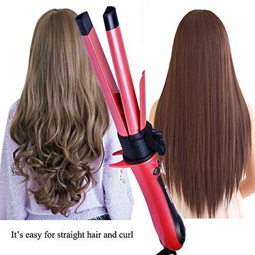 2 in 1 Curling And Straightening Iron Curling Iron 1 Inch Tourmaline Ceramic Iron Automatic Hair Curler Hair Straightening Flat Iron 1 Inch Barrel Hair Styling Tool (Pink)
