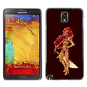 TopCaseStore / la caja del caucho duro de la cubierta de protección de la piel - Warrior Princess Golden Red Hair Sword Bling - Samsung Galaxy Note 3 N9000 N9002 N9005