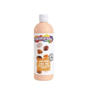 Colorations Washable Multicultural Paint - Color Like Me, 16 fl oz Bottle, Peach Skin Color, Kids, Art Supplies, Diverse, Skin Tones, Multi-ethnicity, Colors from Around The World, Model Number: CMPE
