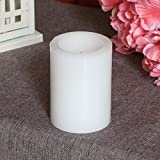 Home Impressions 3x4 Inches Real Wax Flameless Pillar Led Candle with Timer,Battery-operated,White