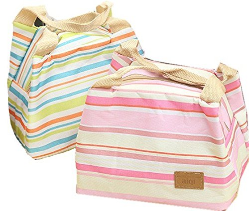 2PCS Lunch Bags Waterproof Oxford Cloth Stripe Fashion Lunch Tote Bag Lunch Bag Grocery Bags with Zipper (Green&Pink)