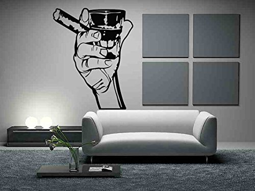 Arms Cigars - Wall Vinyl Sticker Decals Mural Room Design Decor Art Arm Hand Cigar Whiskey Alcohol Man Cave Finger mi231