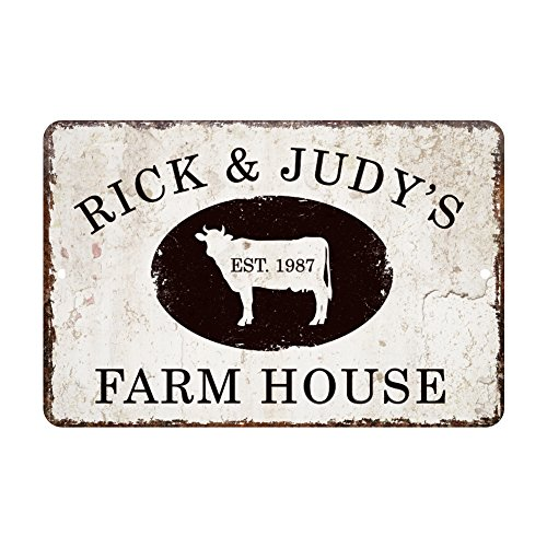 Personalized Vintage Distressed Look Farm House Metal Room Sign (Farm Personalized)