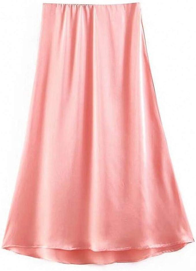 GYYWAN Elegante Falda De Satén De Seda para Mujer Cintura Alta ...