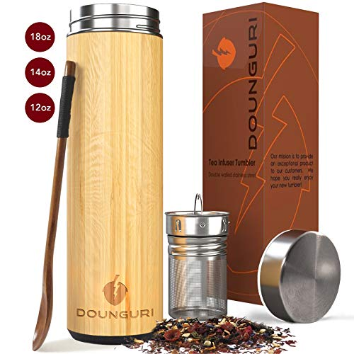 DOUNGURI Bamboo Tea Tumbler Mug with Strainer Infuser - 18 oz Vacuum Insulated Stainless Steel Thermos with Filter for Loose Leaf/Coffee Travel Bottle/Hot and Cold Water/Leak Proof/Gift Ready (Clear Travel Tea Mug)