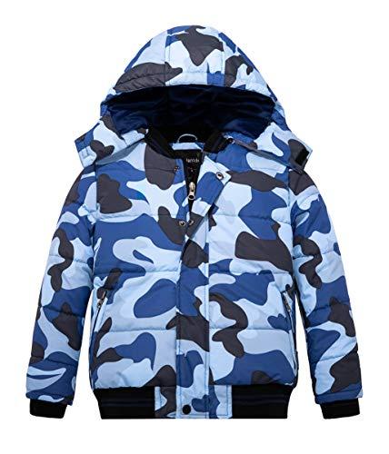 Wantdo Boy's Padded Winter Coat Windproof Fleece Lined Puffer Jacket Navy 6/7