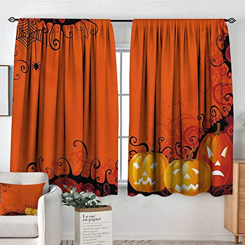 Spider Web Custom Curtains Three Halloween Pumpkins Abstract Black Web Pattern Trick or Treat Kid Blackout Curtains 63