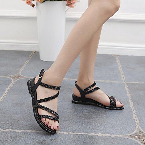 Tutti Donna Open Scarpe YTTY Toe Diamante Sandali Abbinabili Caviglia Marea Piatta Alla Nero Cinturino Marea Fibbia Moda q5BP5w