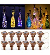 YJFWAL 2021 Upgraded 12 Pack Solar Wine Bottle Lights, 20 LED Starry Cork Lights Solar Operated M...