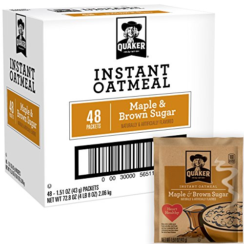 Maple Oatmeal Instant (Quaker Instant Oatmeal Maple Brown Sugar, Breakfast Cereal, 48 Packets (Packaging Will Vary))