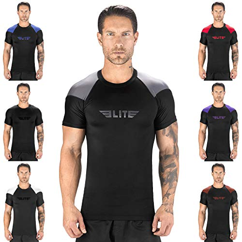(Elite Sports New Item Standard Short Sleeve Compression, MMA, BJJ, No-Gi, Cross Training Rash Guard (Gray, L))
